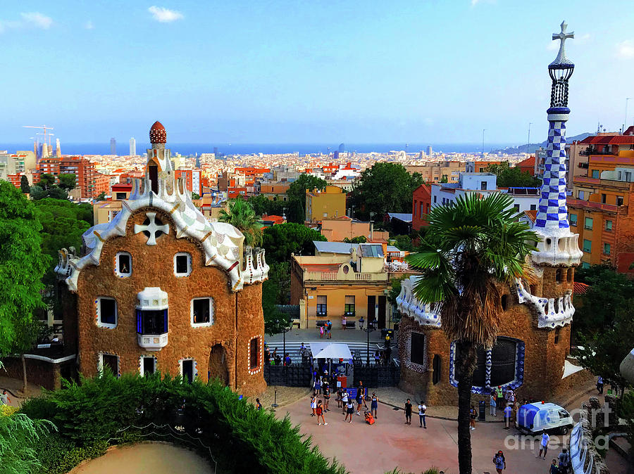 Barcelona Photograph - Overlooking Barcelona From Park Guell by Mona Edulesco
