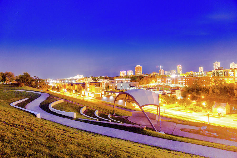 Long Exposure Photograph - Overlooking Riverfront by Vincent Buckley