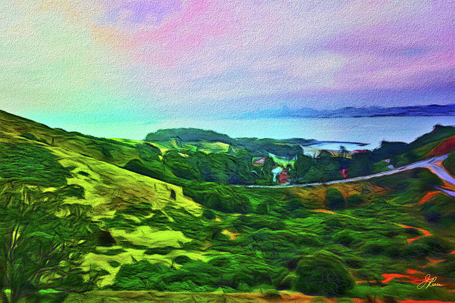 Summertime Painting - Overlooking San Francisco Bay by Joan Reese