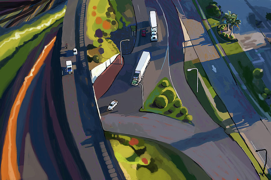 Overpass And Trucks Painting
