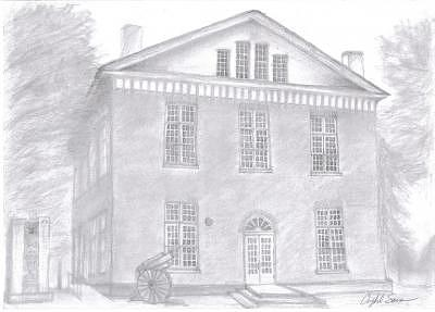 Courthouse Drawing - Overton County Courthouse by Crystal Sons