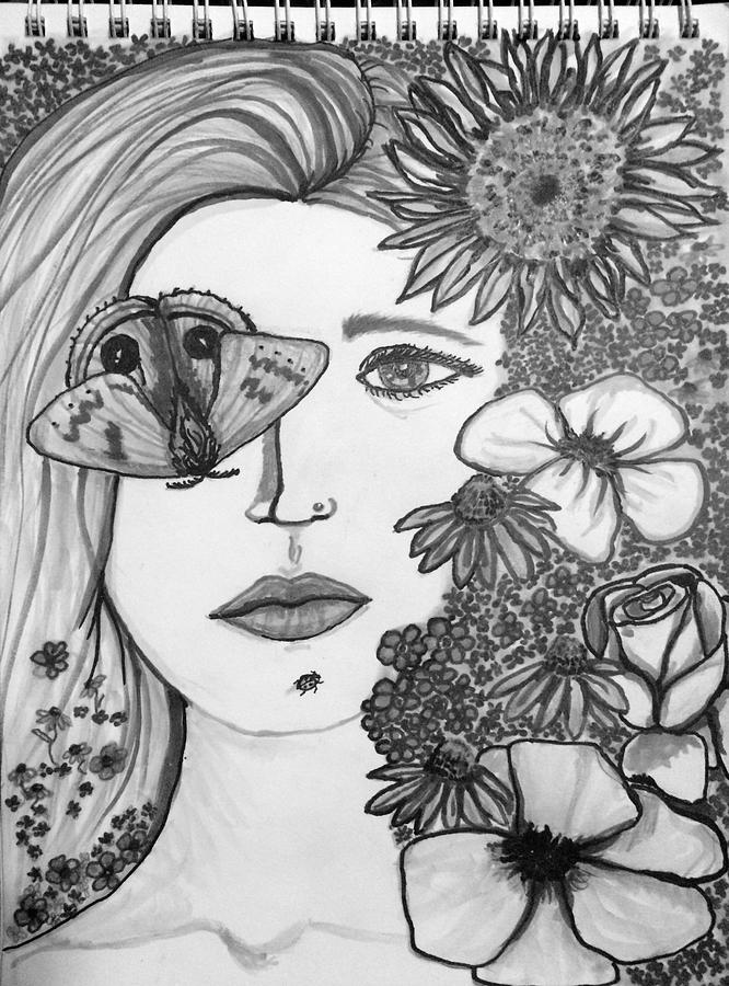 Moth Drawing - Overwhelmed by Amber Carter