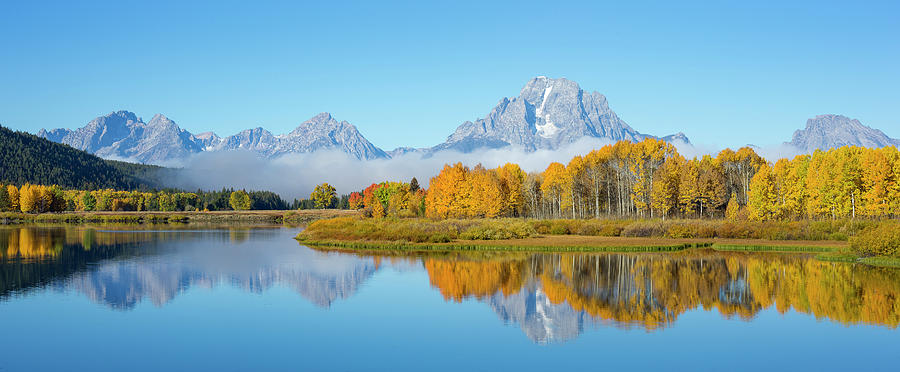 Oxbow Bend Pano in Autumn by D Robert Franz