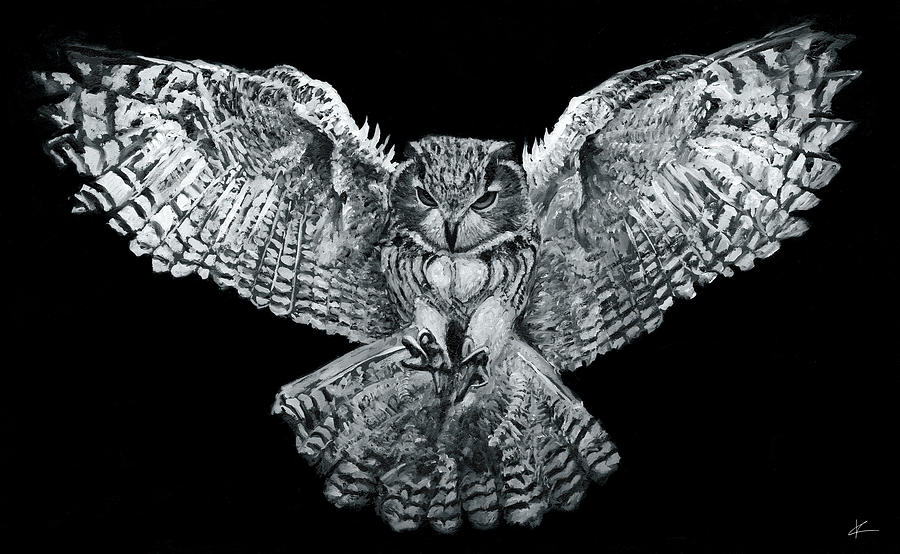 Owl Painting - Owl 1 by Christian Klute