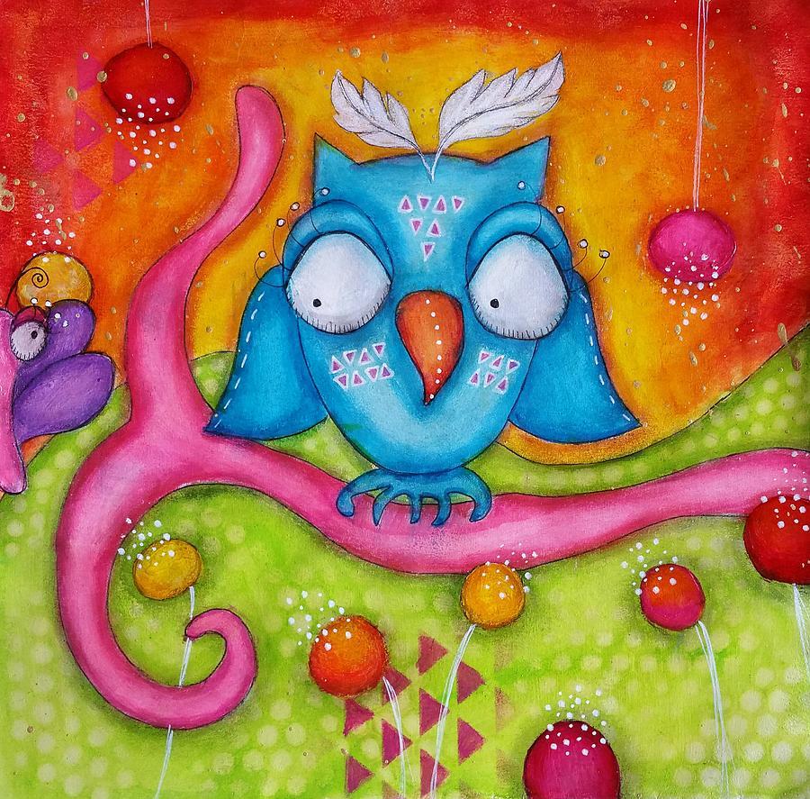 Colorful Mixed Media - Owl-ala  by Barbara Orenya