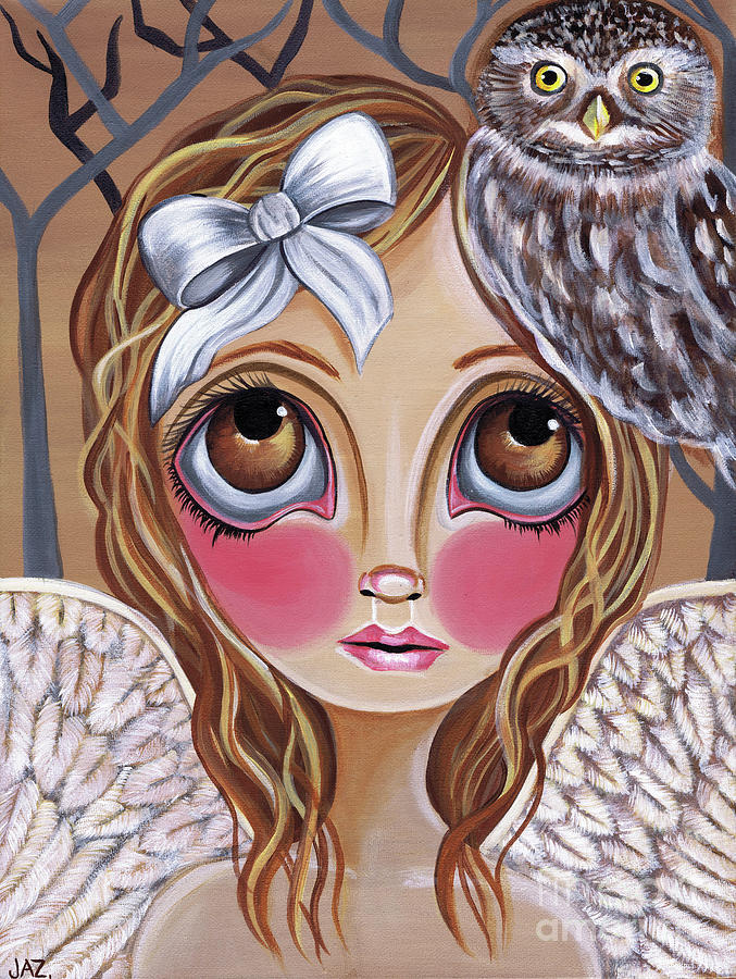 Owl Painting - Owl Angel by Jaz Higgins