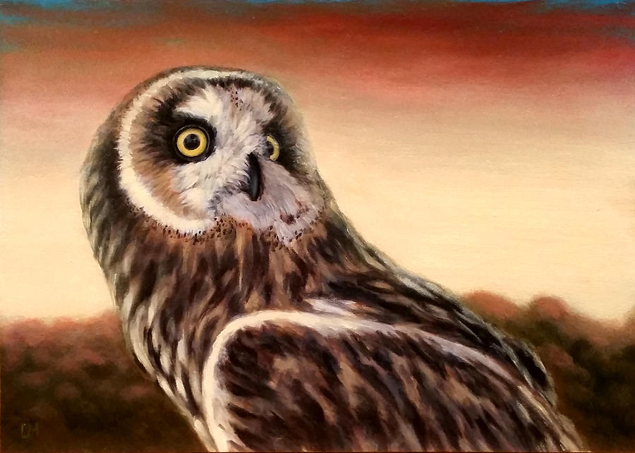 Oil Painting - Owl At Sunset by Linda Merchant