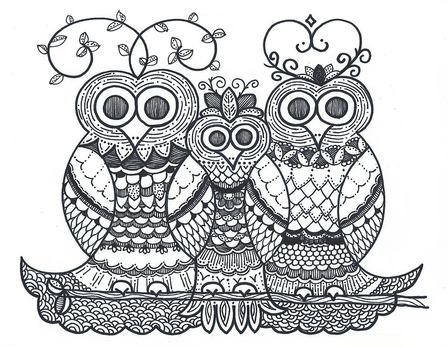 Caroline Drawing - Owl Family by Caroline Sainis