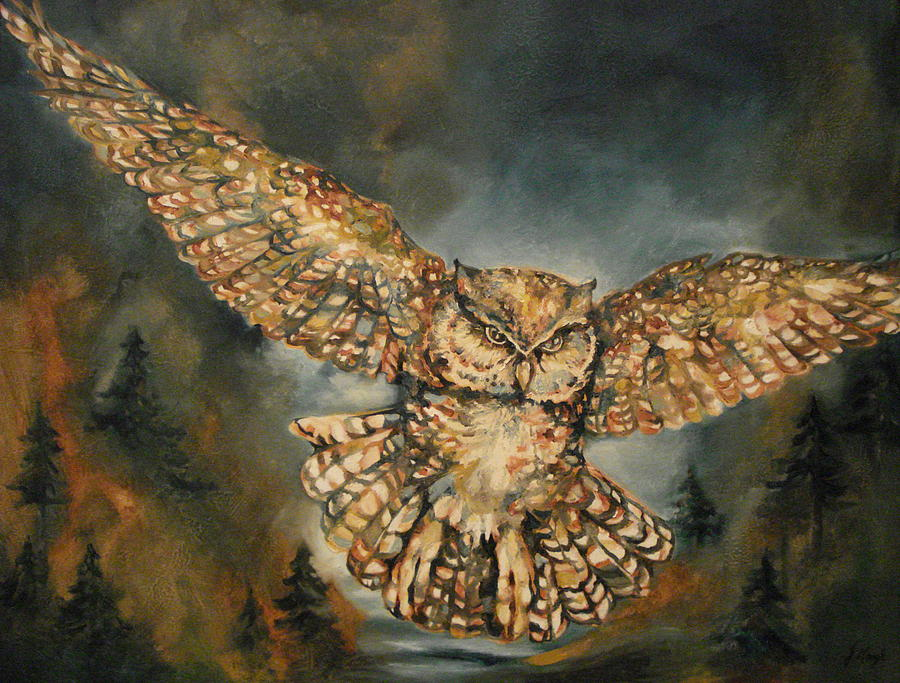 Owl Painting - Owl In Flight by Jane Gough