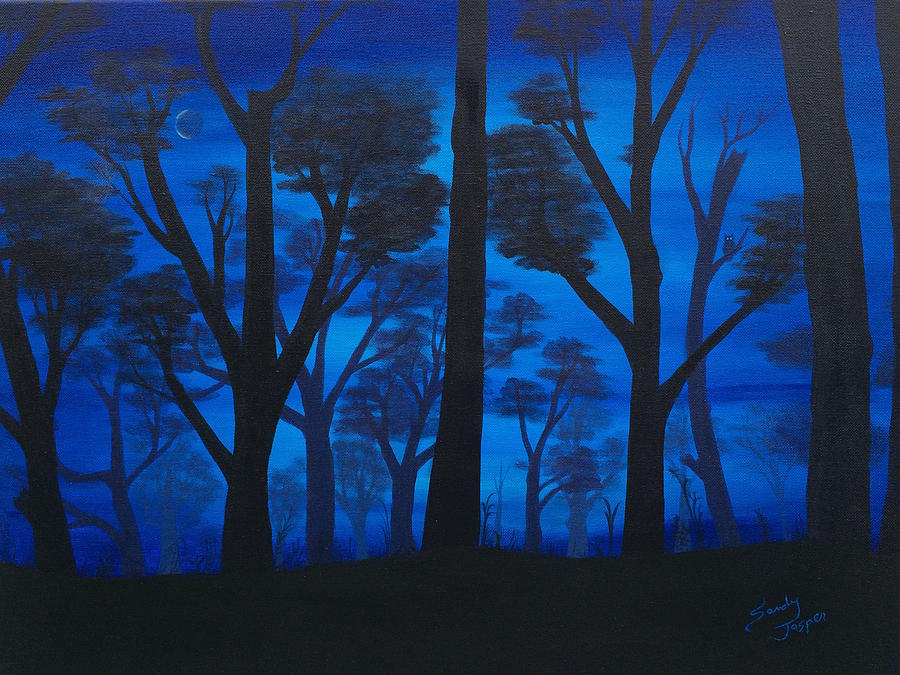 Owl Painting - Owl in the Deep Blue Forest by Sandy Jasper
