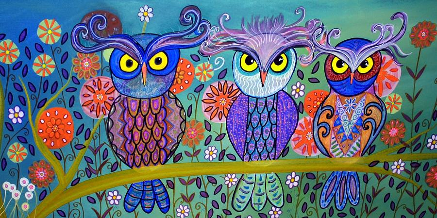 Owls Painting - Owl In The Family by Rick Cheadle