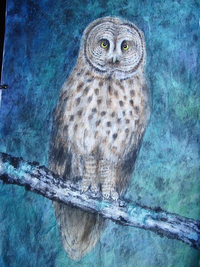 Nature Painting - Owl In The Night by Jian Hua Li