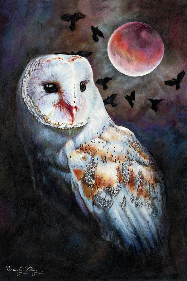 Owl Of The Bloodmoon Heart by Emily May Studio Arts