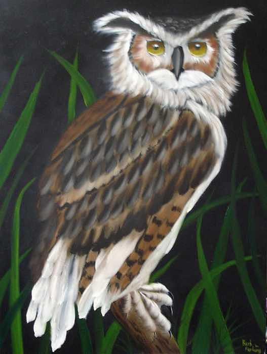 Owl Painting - Owl Oil Painting by Barbara Furlong