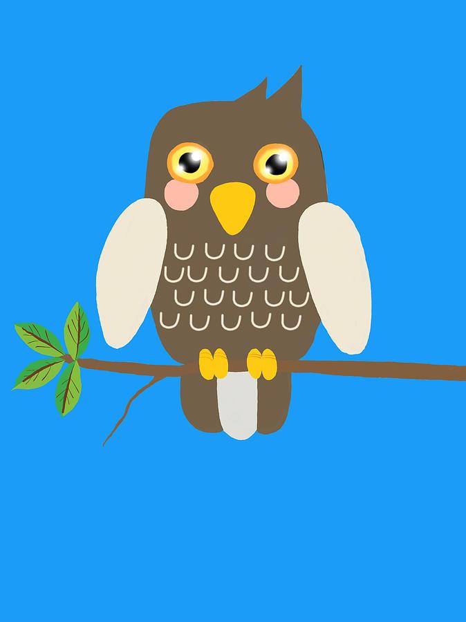 Owl On A Branch Blue Digital Art