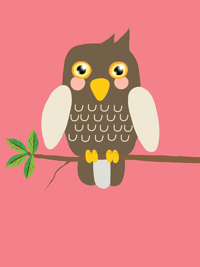 Owl On A Branch Pink Digital Art