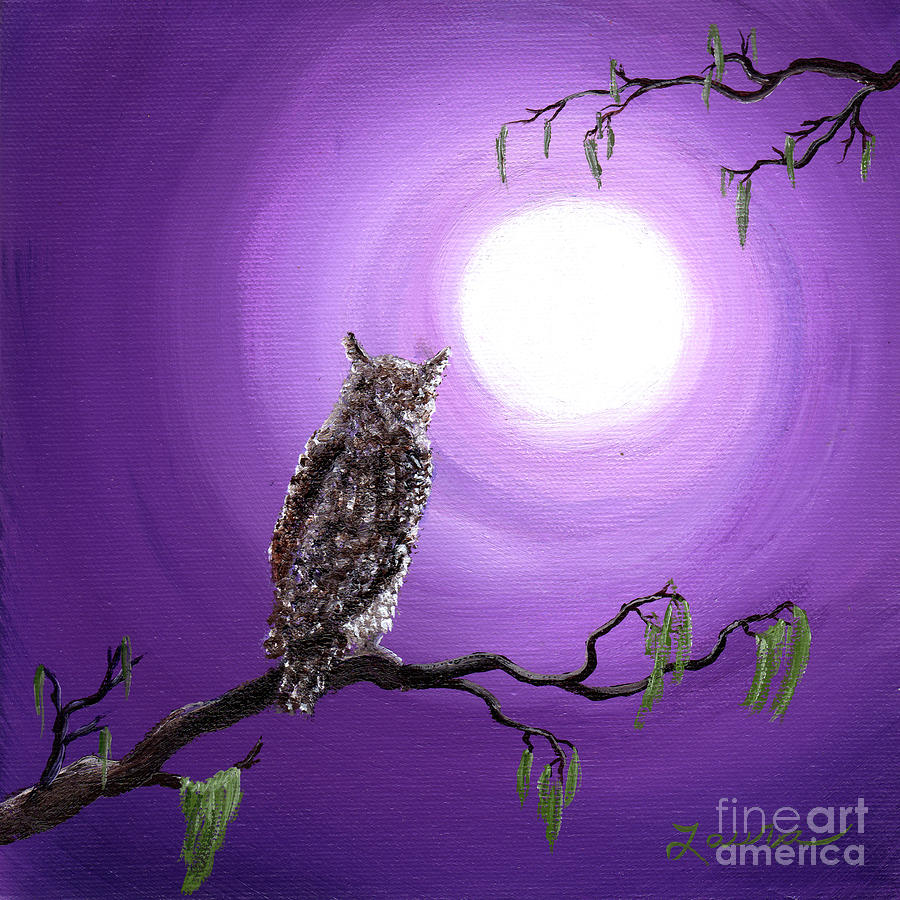 Owl On Mossy Branch Painting By Laura Iverson