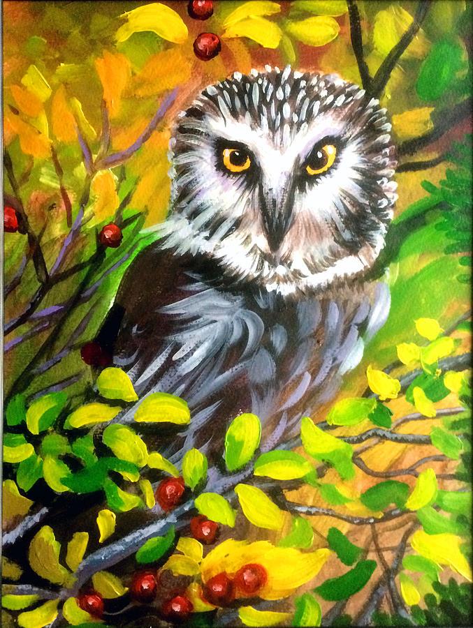 Owl Painting by Robert Korhonen