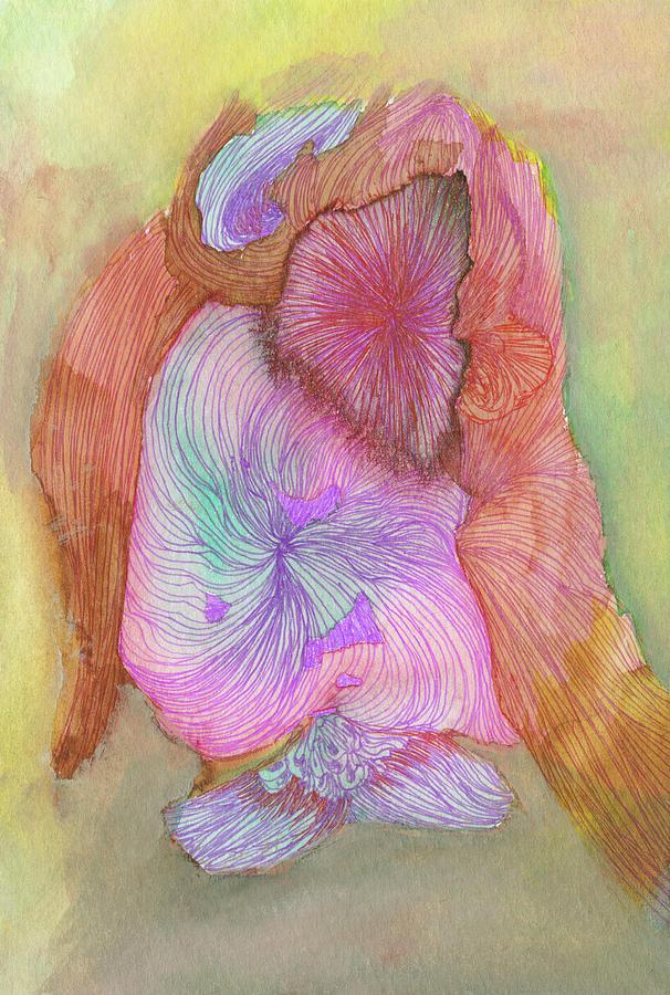 Bird Drawing - Owl - #ss16dw043 by Satomi Sugimoto