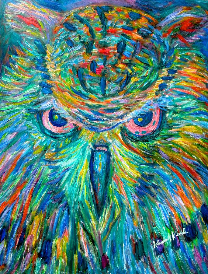 Abstract Owl Painting - Owl Stare by Kendall Kessler