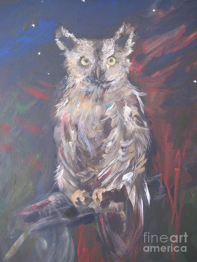 Owl Painting - Owl Watchers by Paula Marsh