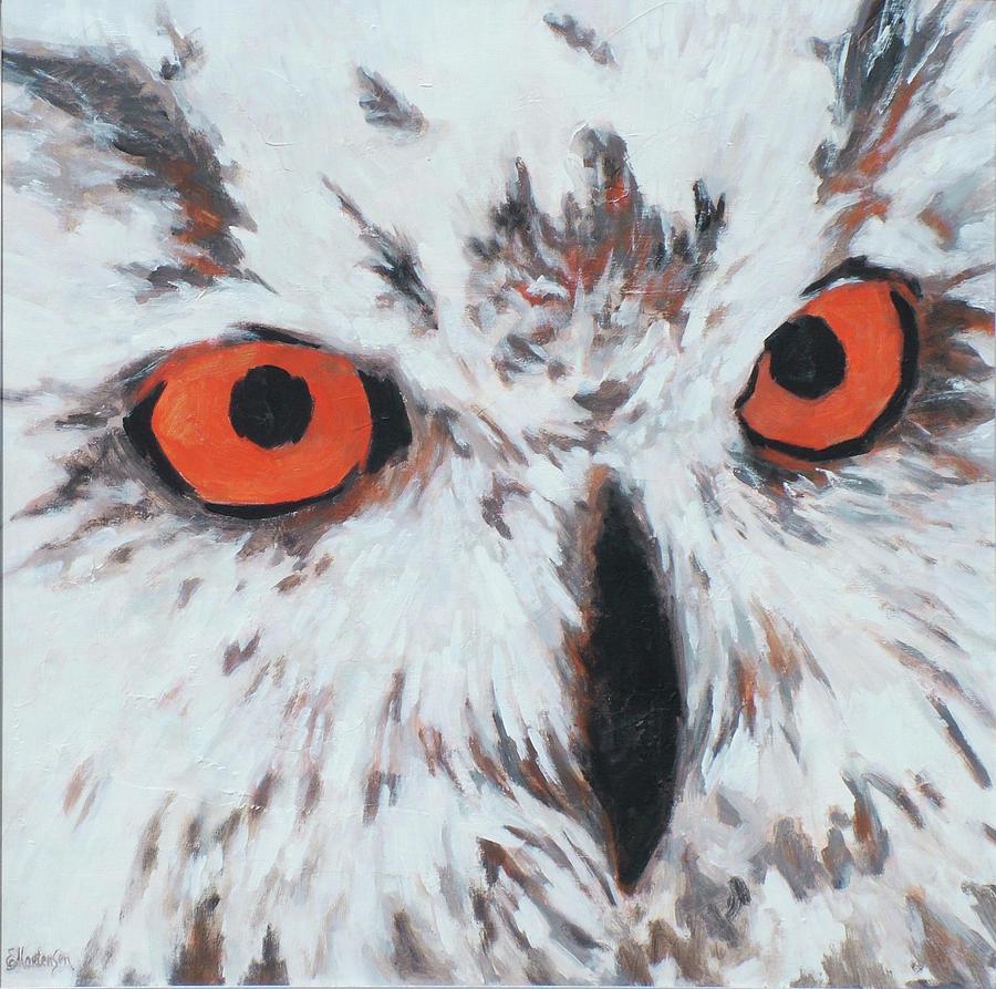 Owl Painting - Owlish Eyes by Ekaterina Mortensen