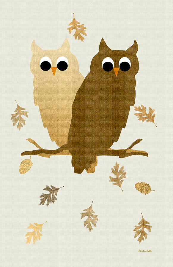 Owls Pattern Art Mixed Media
