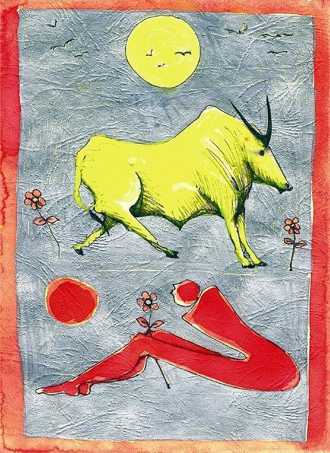 Ox Drawing - Ox-man by Adnan Meatek