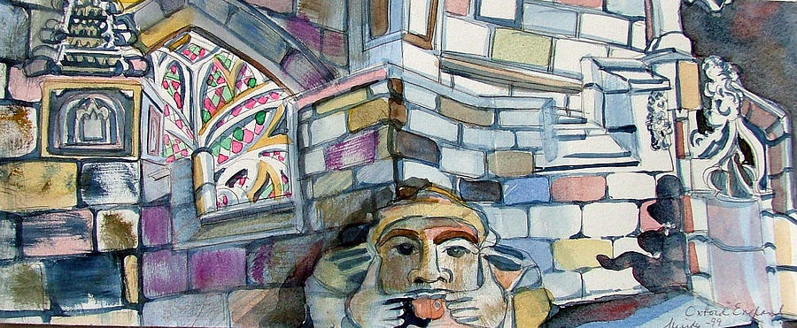 Funny Painting - Oxford Gargoyle by Mindy Newman