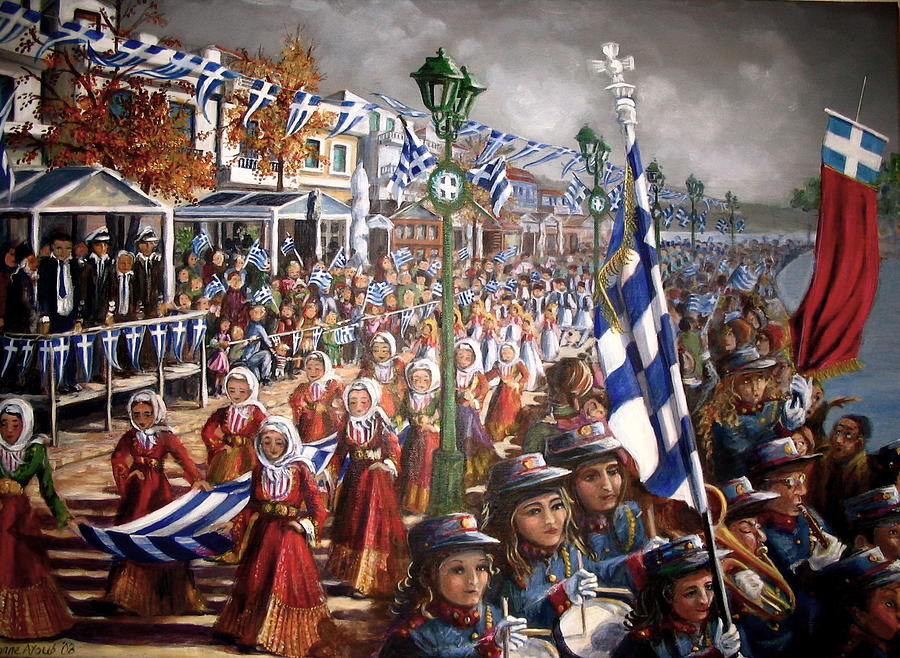 Greece Painting - Oxi Day Parade by Yvonne Ayoub