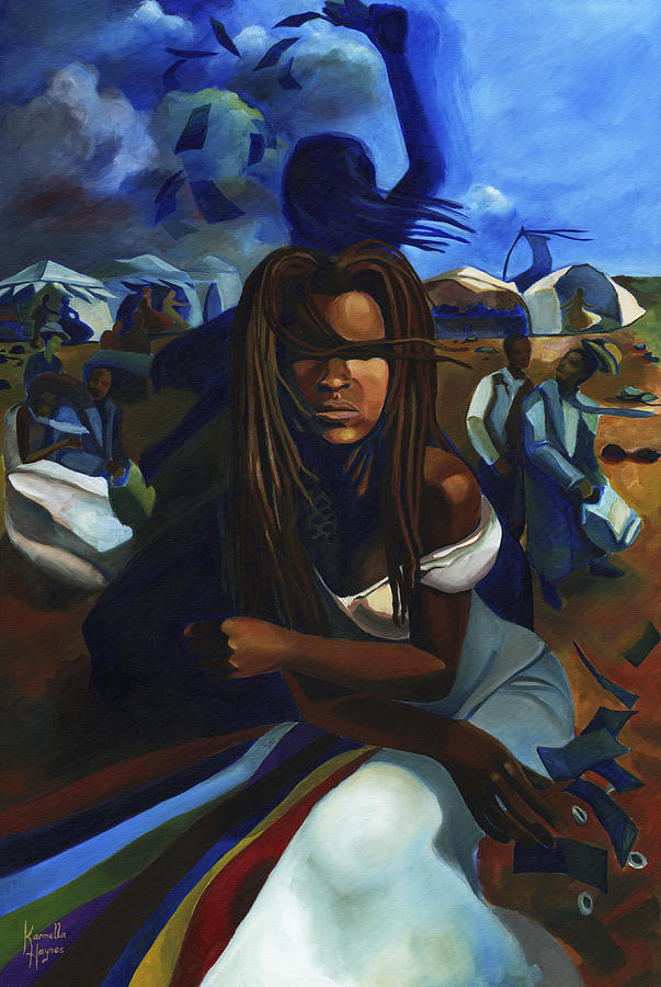 Afro-cuban Painting - Oya at the Marketplace by Karmella Haynes