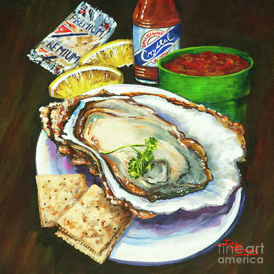 New Orleans Painting - Oyster And Crystal by Dianne Parks