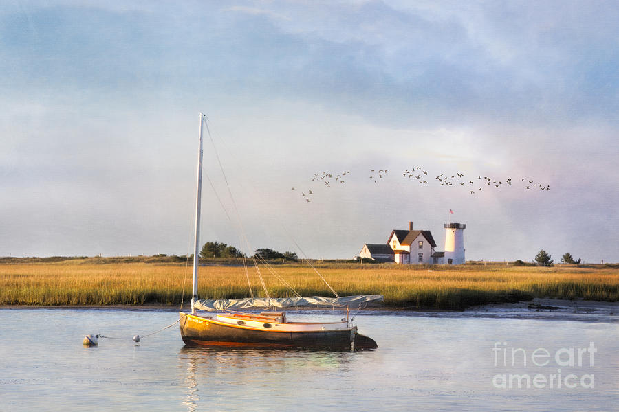 Oyster River and Stage Harbor Light by Betty Wiley
