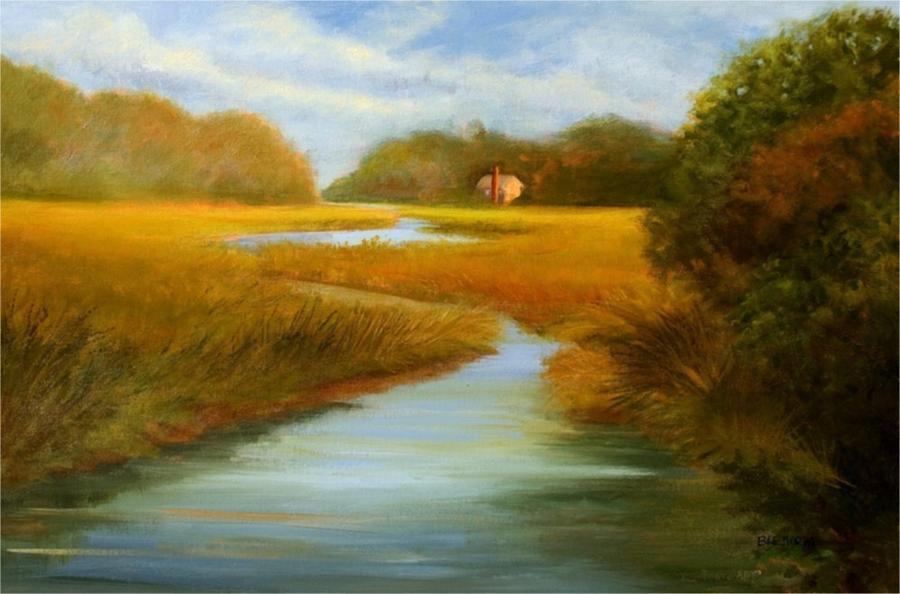 Marsh Painting - Oyster River September by Jan Blencowe