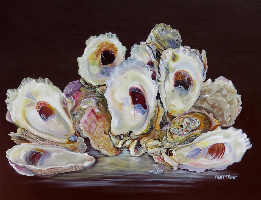 Oyster Painting - Oyster Shell Study At Low Tide by Phyllis Beiser