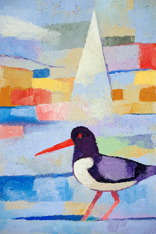 Oystercatcher Painting - Oystercatcher At Sea by Lutz Baar
