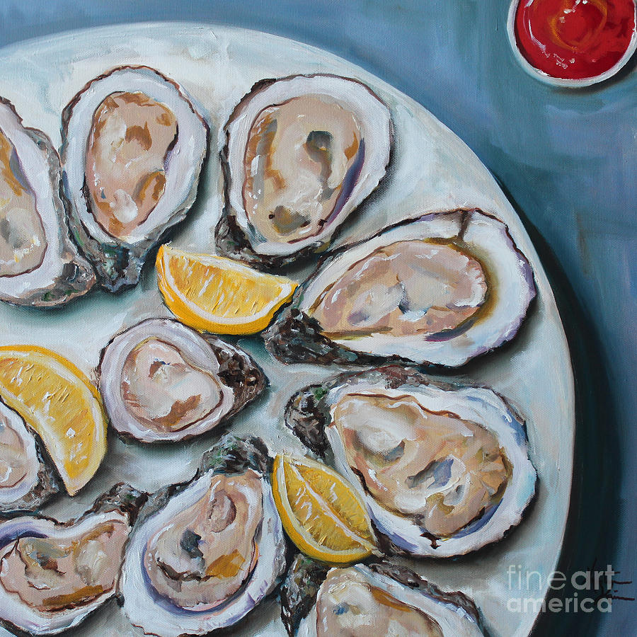 oysters on the half shell painting by kristine kainer