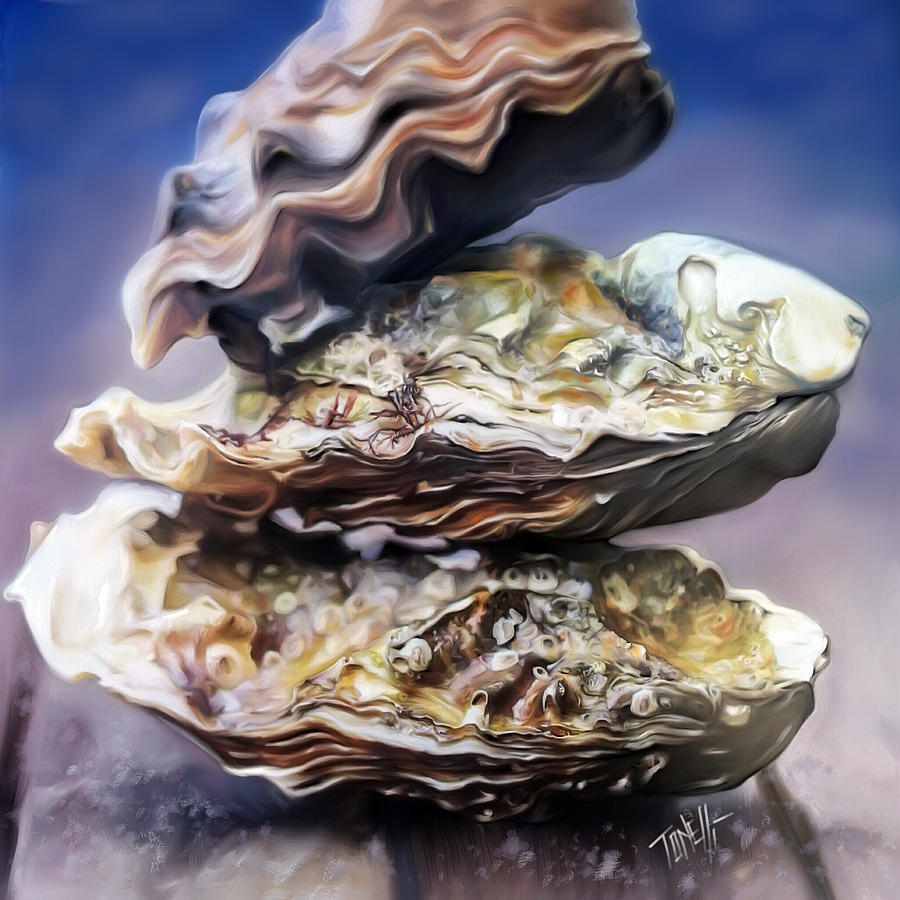 Oysters By The Sea Mixed Media