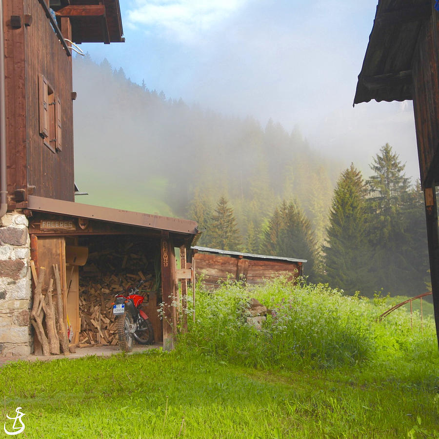 P 276 Morning mist in the village by Sarah-l Singer