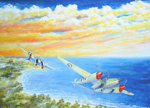 P-38 Painting - P-38 Lighting Can Opener by Dennis Vebert