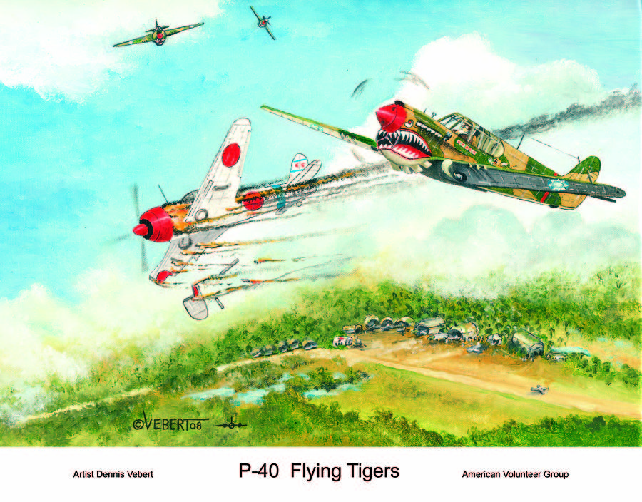 World War Ii Painting - P-40 Flying Tigers by Dennis Vebert