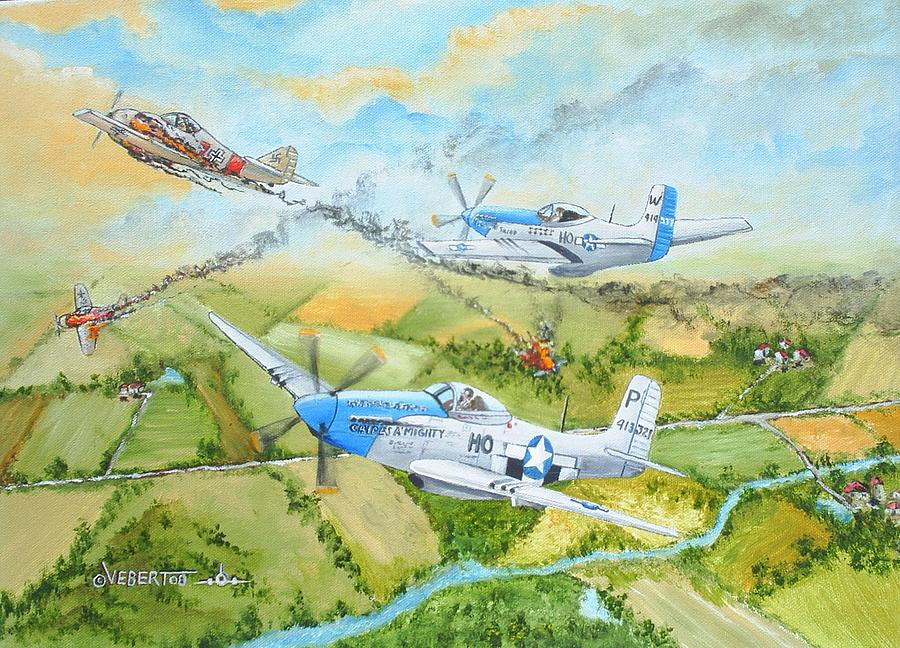 Ww Ii Painting - P-51 Cripes A Mighty by Dennis D Vebert