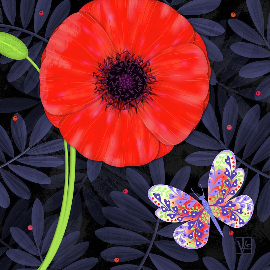 Letter Mixed Media - P Is For Pretty Poppy by Valerie Drake Lesiak