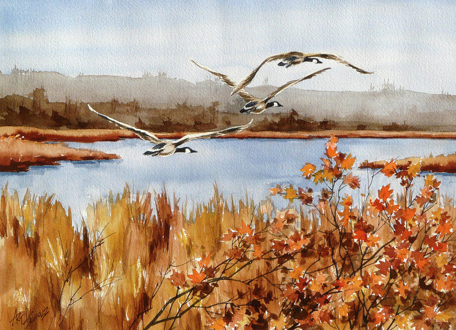 Canadian Geese Flying Painting -   On The Fly by Art Scholz