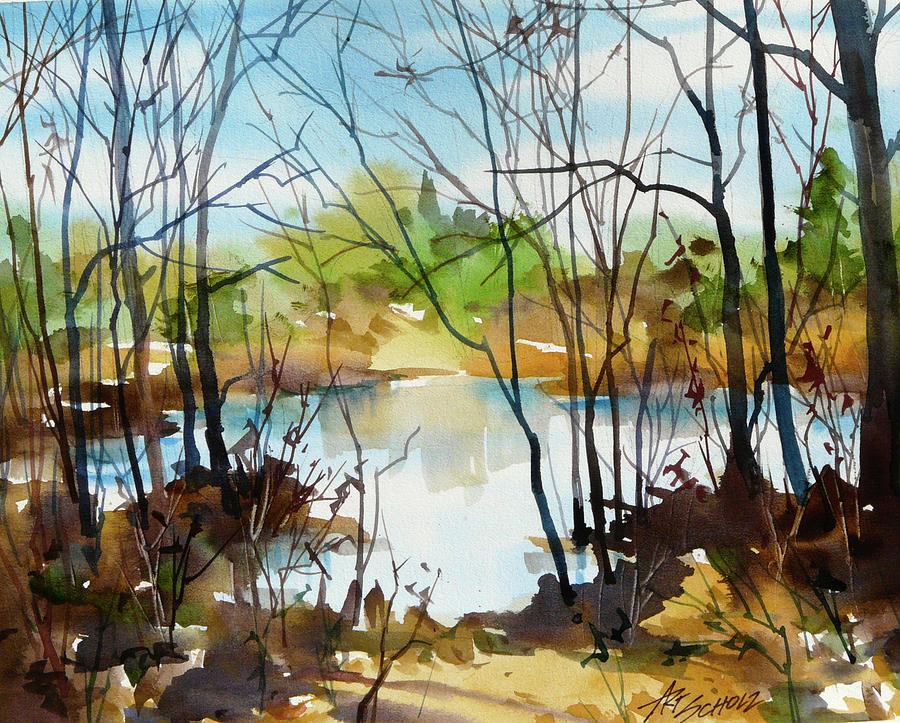 Sparkle Pond Painting by Art Scholz