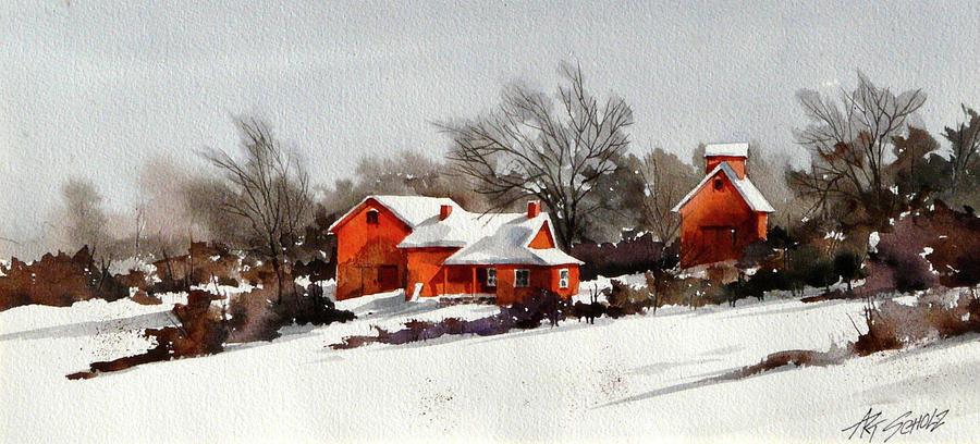 Winter Snow Painting -   Cold Sunrise by Art Scholz