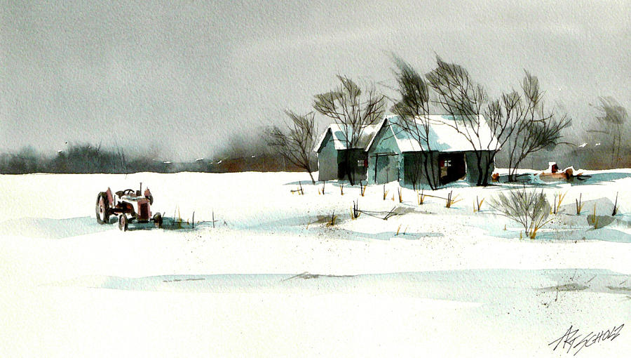 Barns Painting -   Winters Farm Chill by Art Scholz
