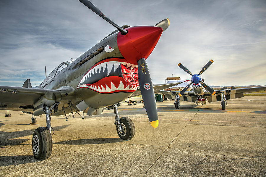 Hollister Photograph - P40 Warhawk And P51d Mustang On The Ramp by John King
