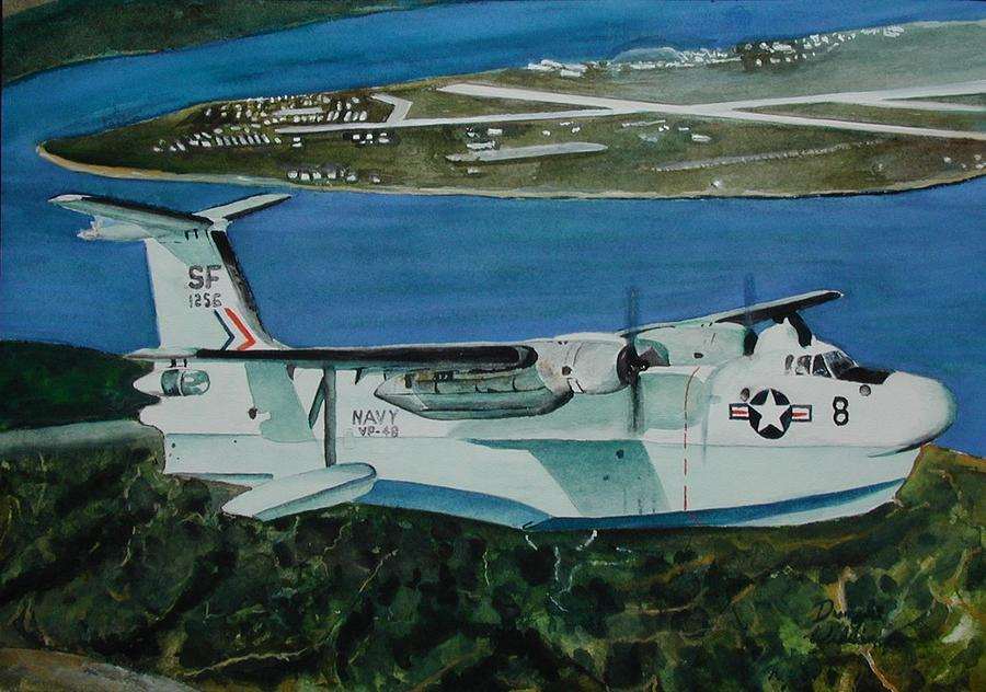 Airplane Painting - P5m Over North Island by Dwight Williams