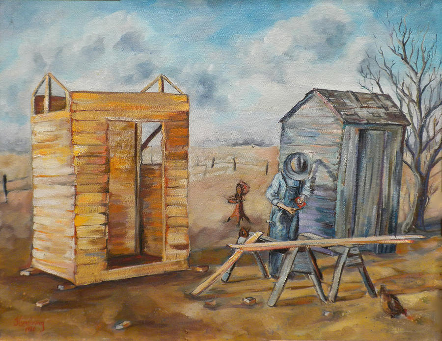 Outhouses Painting - Pa Builds A New Outhouse by Jean Groberg